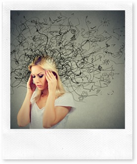 Thoughtful blonde woman with a mess in her head